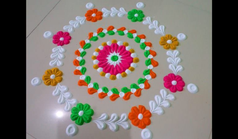 Small And Easy Diwali Special Rangoli Design